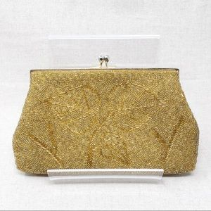 Vintage Gold Beaded Clutch Evening Purse